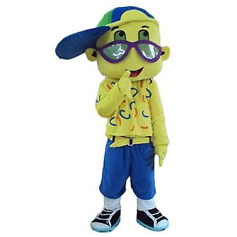 SPOTSOUND of all yellow boy mascot, with a CAP and glasses