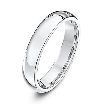 Star Wedding Rings 9ct White Gold Extra Heavy Court Shape 4mm Wedding Ring
