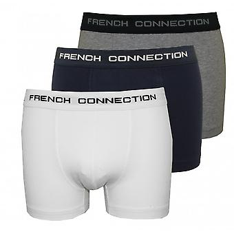 French Connection 3-Pack Stretch Cotton Boxer Trunks, Navy/White/Grey