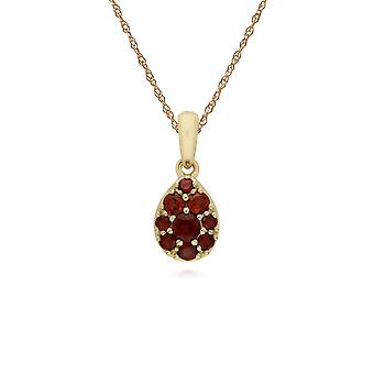 Cluster Round Garnet Pear Shaped Pendant Necklace & Chain in 9ct Yellow Gold 135P1909039