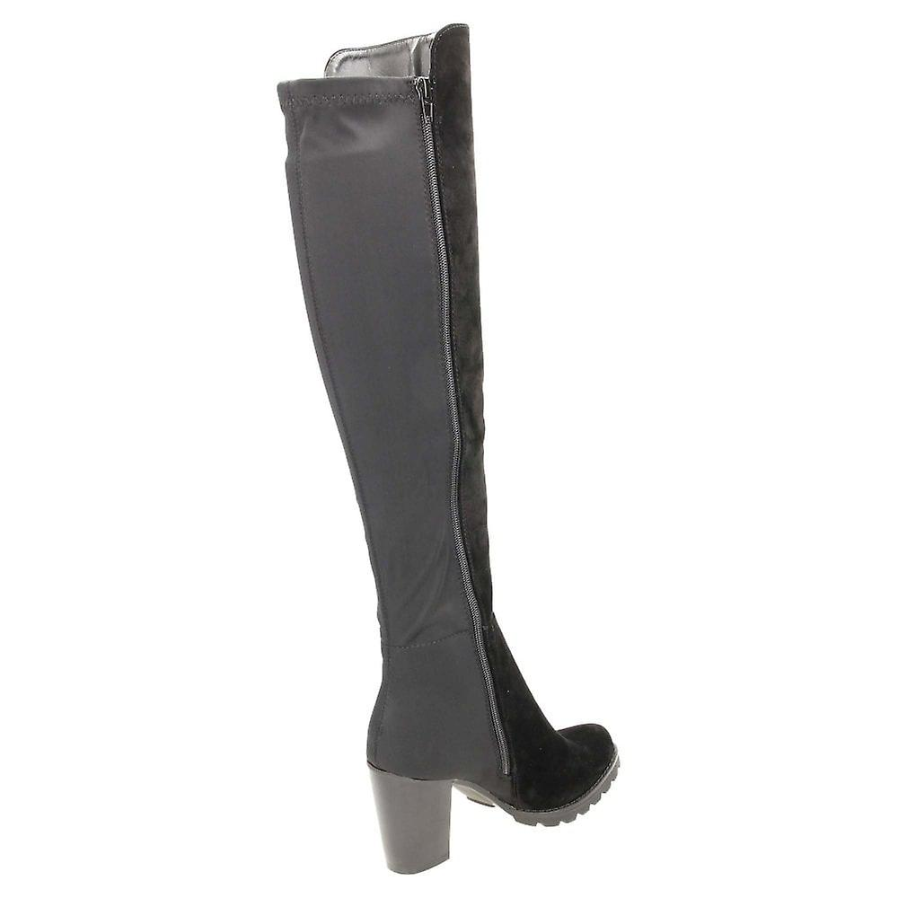Koi Footwear Black Suede Stretchy High Heel Angular Tall Over Knee Boots