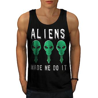 Aliens Mystery Funy Men BlackTank Top | Wellcoda
