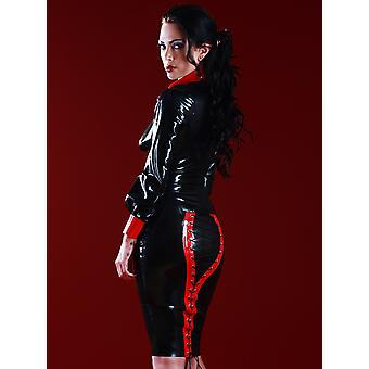 Skin Two Clothing Women's Pencil Skirt Mock Lace Up Back Rubber Black & Red