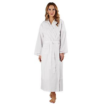 Slenderella HC3234L Women's Cotton Woven White Dressing Gown Loungewear Bath Robe Kimono