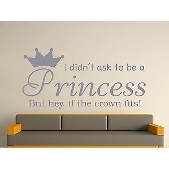 Ser una princesa v2 Wall Sticker Art - plata