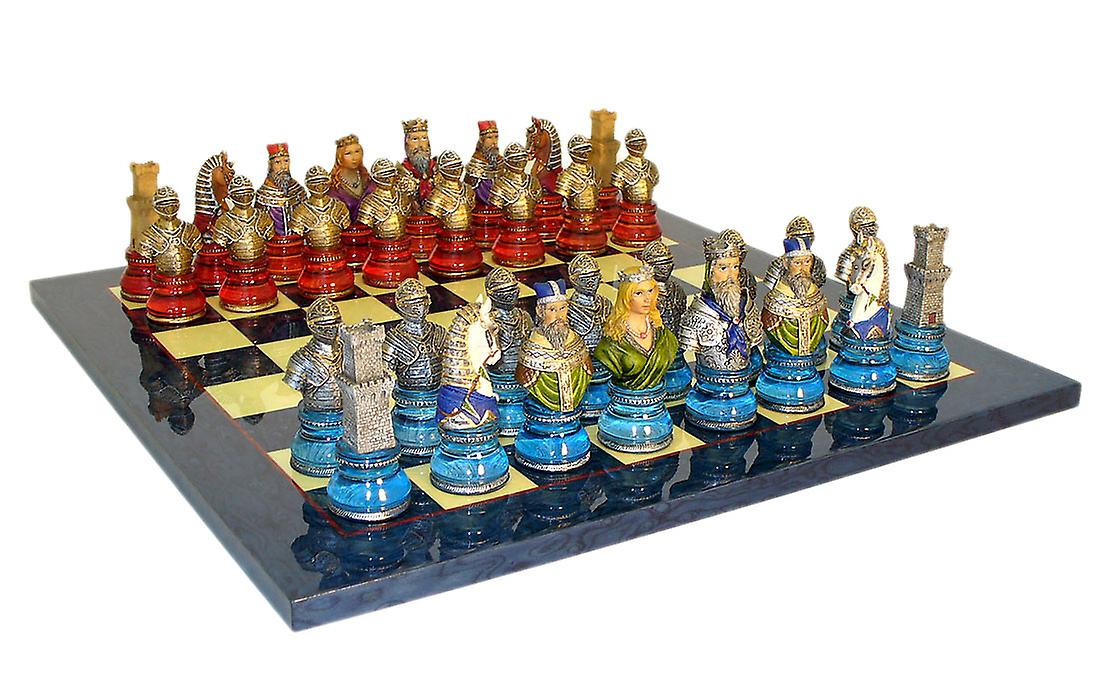 Camelot byster akryl Base sett blå sjakkbrett