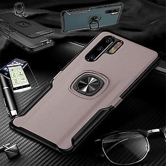 For Huawei P30 lite hybrid magnet metal ring Case rosa + hard glass veske etui deksel etui