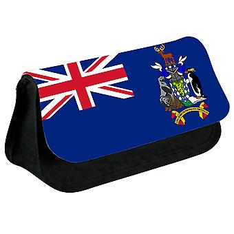 South Georgia and the South Sandwich Islands Flag Printed Design Pencil Case for Stationary/Cosmetic - 0232 (Black) by i-Tronixs