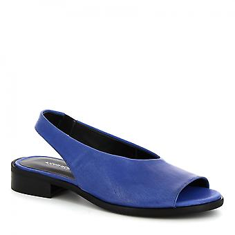 Leonardo sko kvinners håndlaget slip-on slingback sandaler blå kalv skinn