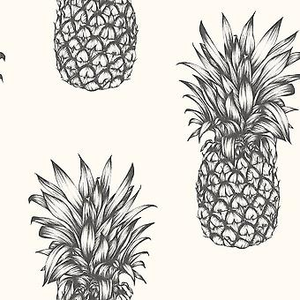 Copacabana Black White Pineapple Print Wallpaper Tropical Fruit Luxury Arthouse