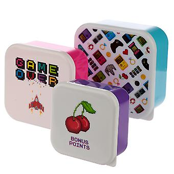 Puckator Set of 3 Lunch Boxes, Game Over