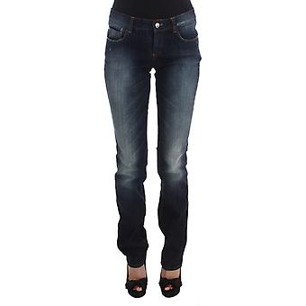 Blue cotton slim fit bootcut jeans