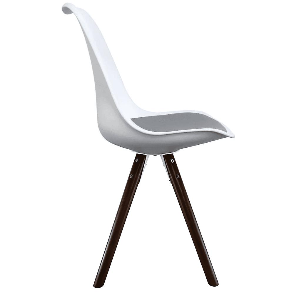 Fusion Living Eiffel Inspired White And Dark Grey Dining Chair With Pyramid Dark Wood Legs