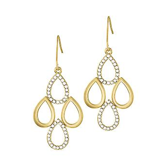 Eternal Collection Modello Clear Crystal Gold Tone Drop Pierced Earrings