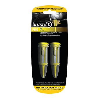 BrushT Xtra Long Golf Tees XLT with Ball Marker 80mm Yellow 2 pack