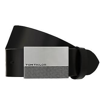 TOM TAILOR Cinturón de Cuero Cinturón Hombres Cinturón de Cuero Negro 8046
