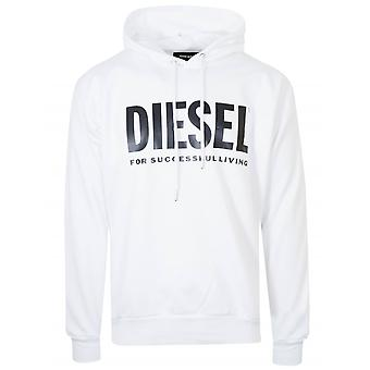 Diesel White Logo Hooded Sweatshirt