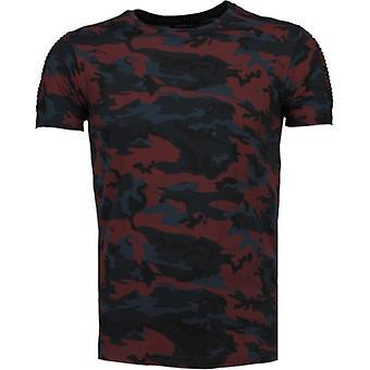 Camouflage Print Ribbel-T-Shirt-Burgundy