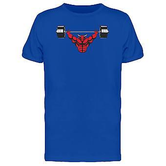 Red Strong Bull Doing Exercise Tee Men's -Image by Shutterstock