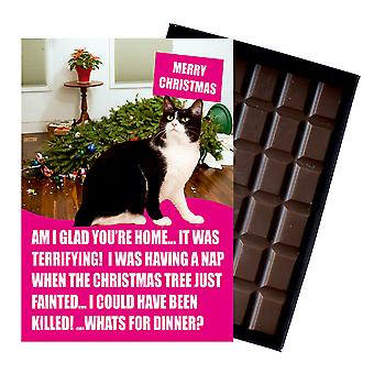 Noir et blanc Tuxedo Cat Christmas Gifts Xmas Presents for Cat Lovers Chocolate Greeting Card