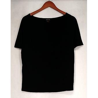 Iman Top Slip Into Slim Basic Tee Shirt Jet Black Womens 460-386