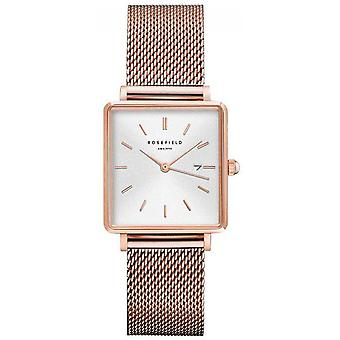 Rosefield boxy Quartz Analog Women Watch with QWSR-Q01 Gold Plated Stainless Steel Bracelet