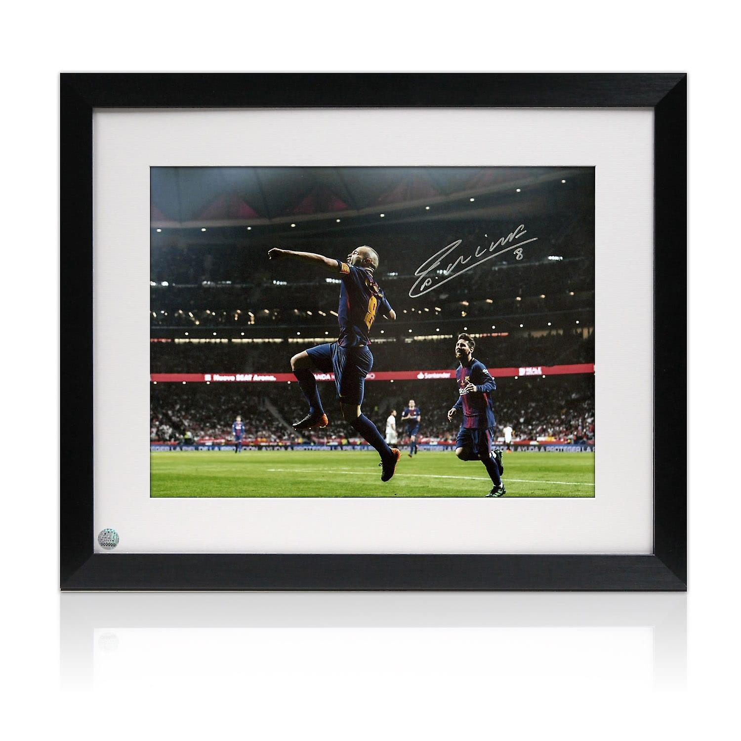 Andres Iniesta Signed Barcelona Photo: Copa Del Rey Final. Framed