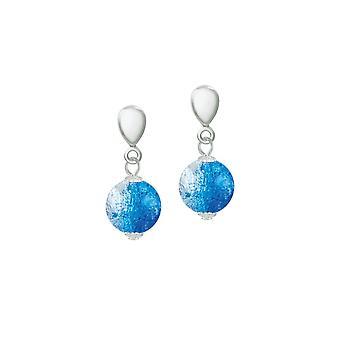 الأبدية كرنفال جمع الزجاج التشيكي الأزرق كراكل الفضة بنة الفضة كليب على الأقراط