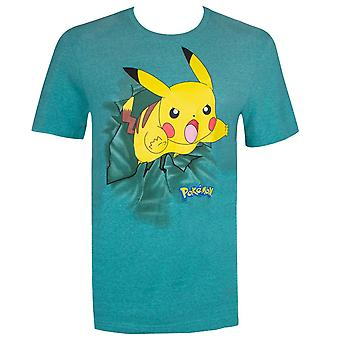 Pokemon Pikachu Jump Attack Men's Blue-Green T-Shirt