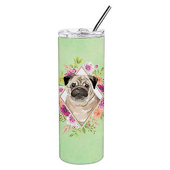 Fawn Pug Green Flowers Double Walled Stainless Steel 20 oz Skinny Tumbler