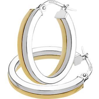 Citerna Women's Hoop Earrings - Bicolor Gold - 9 Carats - Simple