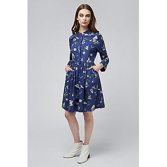 Louche Lilia Holiday Print Concealed Button Shirt Dress Navy