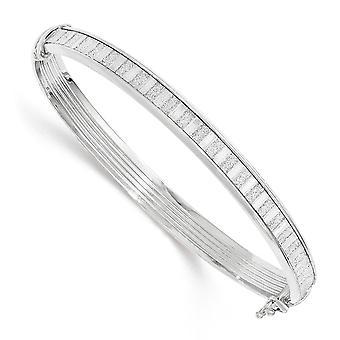 6.75mm 925 Sterling Argent Avec Glitter Hinged Cuff Stackable Bracelet Bijoux Bijoux pour les femmes