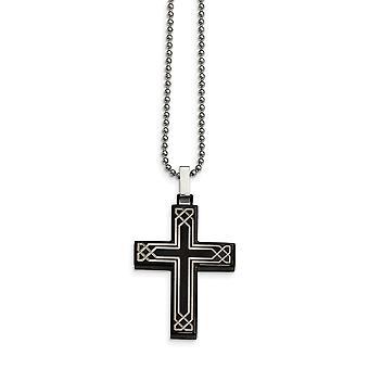 Roestvrij staal gepolijst laser geëtst Zwarte Ip Religieuze Geloof Cross Ketting 24 Inch Sieraden Geschenken voor vrouwen