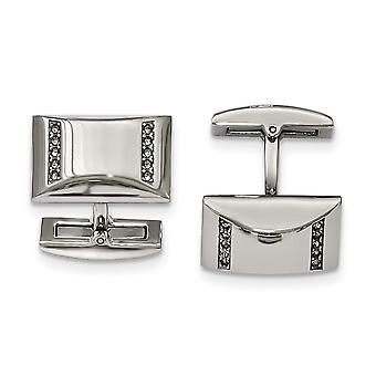 Stainless Steel Polished CZ Cubic Zirconia Simulated Diamond Rectangle Cuff Links Jewelry Gifts for Men