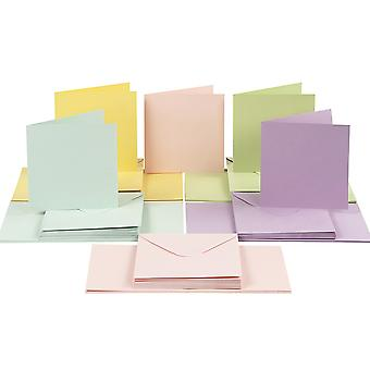 50 Pastel 15cm Square Cards and Envelopes for Card Making Crafts