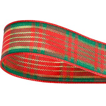 10m Satin Red & Green Tartan 15mm Christmas Ribbon for Gift Wrap Crafts