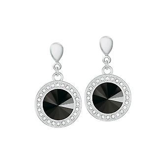 Eternal Collection Viva Jet Black Austrian Crystal Silver Tone Drop Clip On Earrings
