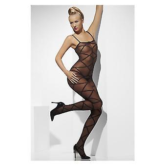 Womens Sheer Body Stocking schwarz ouvert Fancy Dress Zubehör