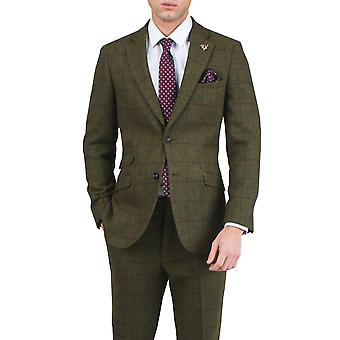 Dobell Mens Green Tweed Jacket Regular Fit Notch Lapel Windowpane Check