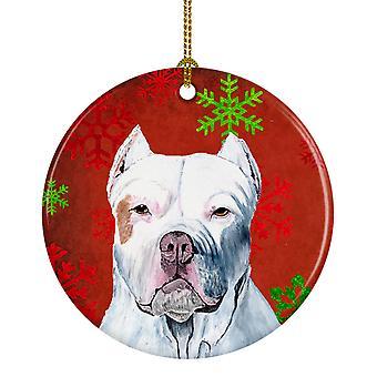 Pit Bull los copos de nieve rojo vacaciones Navidad adorno cerámica SC9421