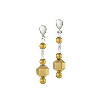 Eternal Collection Imagination Silver And Gold Hematite Drop Screw Back Clip On Earrings