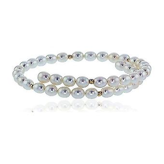 Luna-Pearls Pearl Bangle Freshwater Pearls 5-6 mm 585 Yellow Gold 3001211