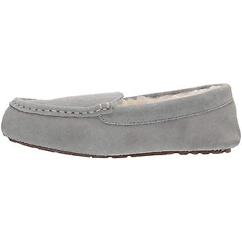 Amazon Essentials Women's Leather Moccasin Slipper, Light Grey, 6 M US