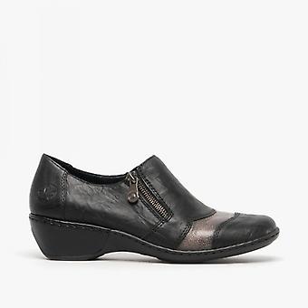 Rieker 47160-00 Ladies block hälen skor svart