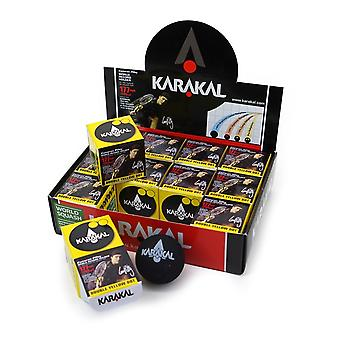 Karakal Double Yellow Dot Extra Super Slow Tournament Squash Balls - Caixa de 12