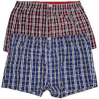 Duke D555 Mens Plaid Big Tall Kingsize 2 Pack Woven Boxer Shorts - Red/Navy