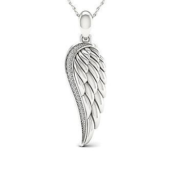 Igi certified s925 sterling silver 0.06ct tdw diamond angel wing necklace