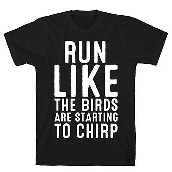 Run like the birds are starting white print t-shirt