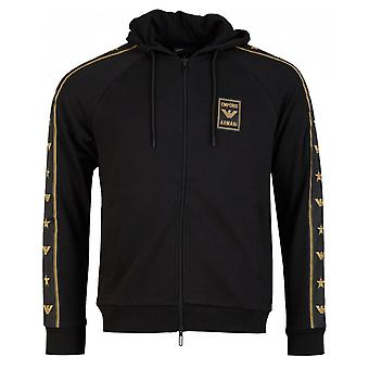 Armani Eagle Taped Zip Through Hooded Top